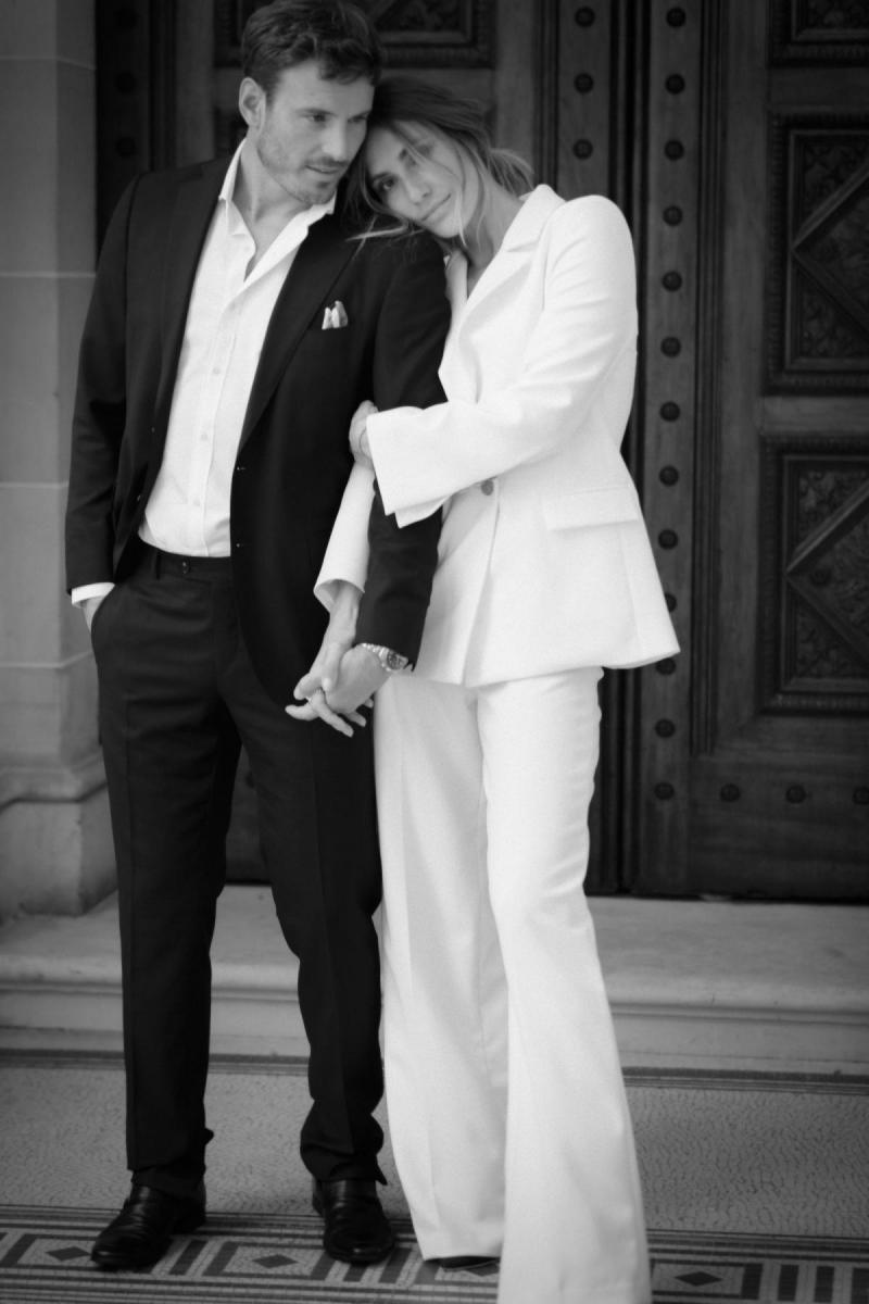 Charlie & Danielle by Karen Willis Holmes, white wedding jacket & white wedding pants for white wedding pant suits for bride