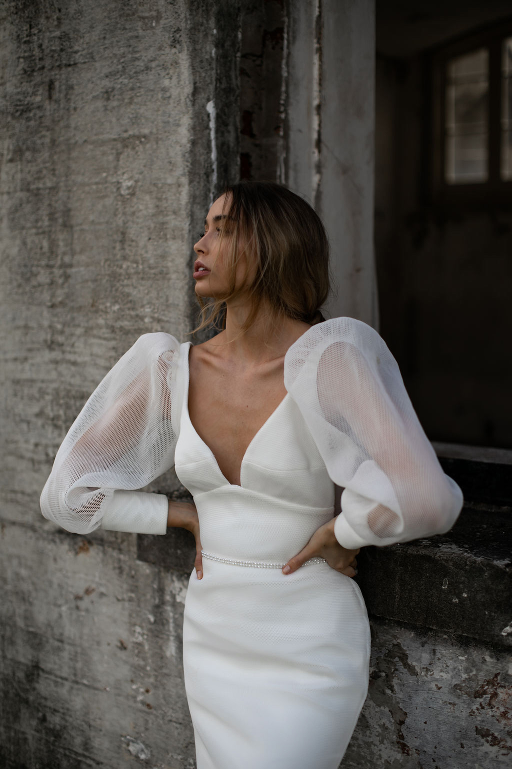 Penelope by Karen Willis Holmes; V neck minimal wedding dress